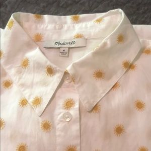 Madewell button down blouse with embroidered suns